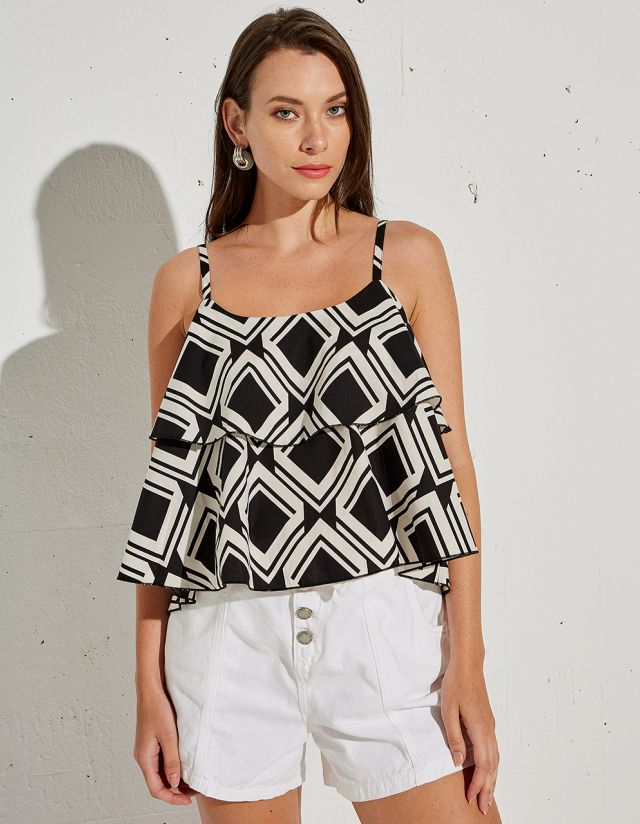 PRINTED TOP WITH RUFFLES