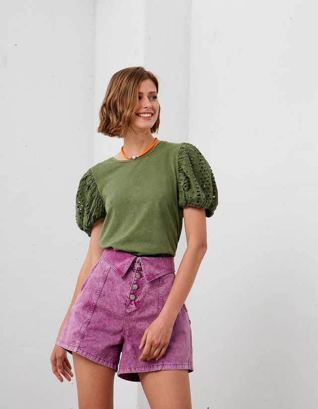 BLOUSE WITH BRODERIE SLEEVES