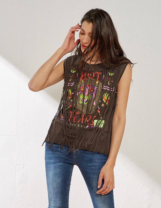 TOP WITH FRINGES AND PRINT