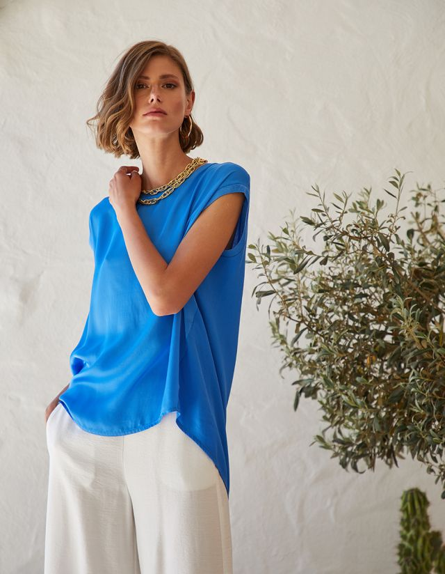 BLOUSE WITH FABRIC COMBINATION - TOGETHERLAND