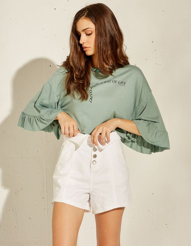BLOUSE WITH PRINT & RUFFLES