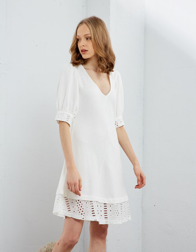 SWEATER DRESS WITH BRODERIE