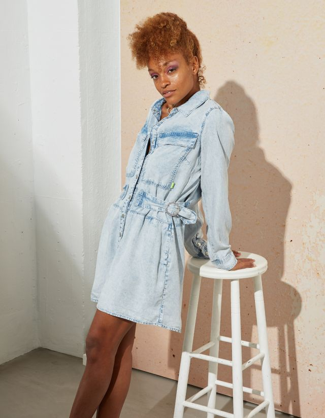 DENIM LOOK SHIRT DRESS