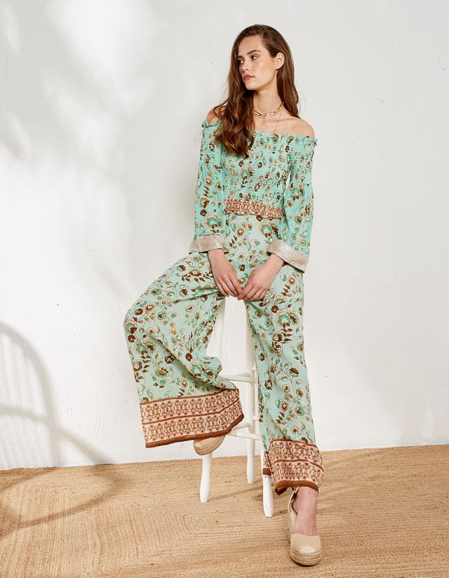 FLORAL HIGH WAIST TROUSERS