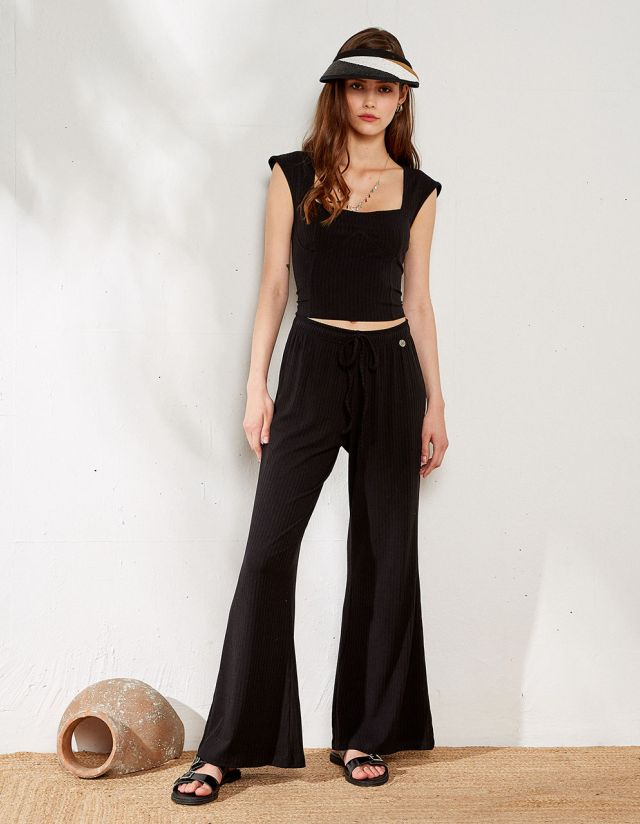 HIGH WAIST RIB TROUSERS