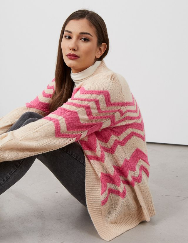 KNIT CARDIGAN WITH STTRIPES