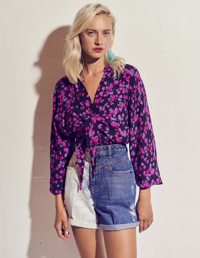 FLORAL SHIRT WITH KNOT