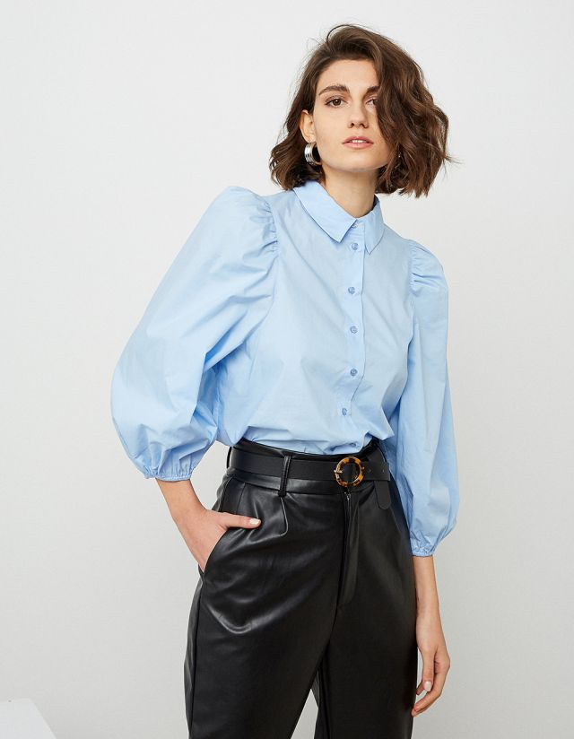 COTTON SHIRT WITH ELASTICTATED CUFFS