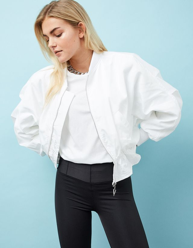 BOMBER JACKET WITH FRILLED HEM
