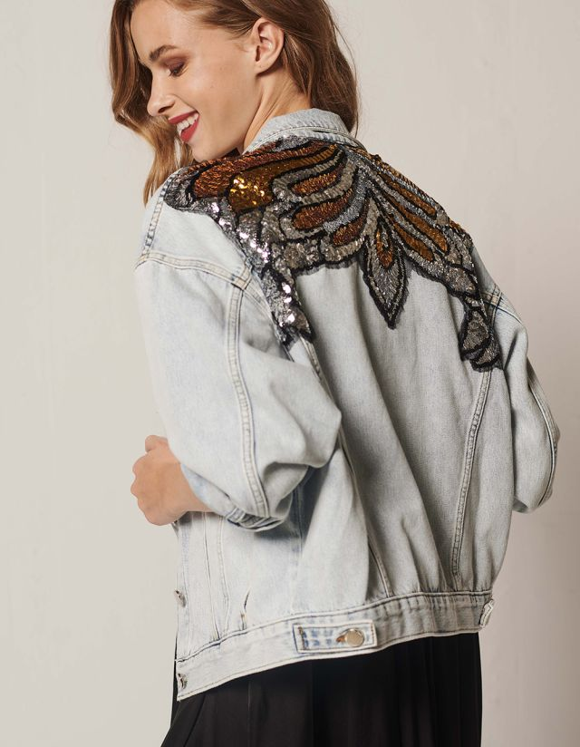 JEAN JACKET WITH SEQUINS