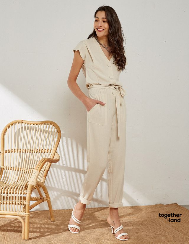 JUMPSUIT WITH LINEN TOUCH