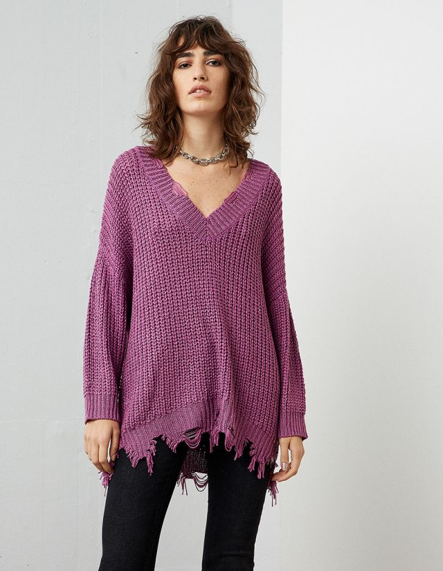 KNIT SWEATER WITH FRINGES