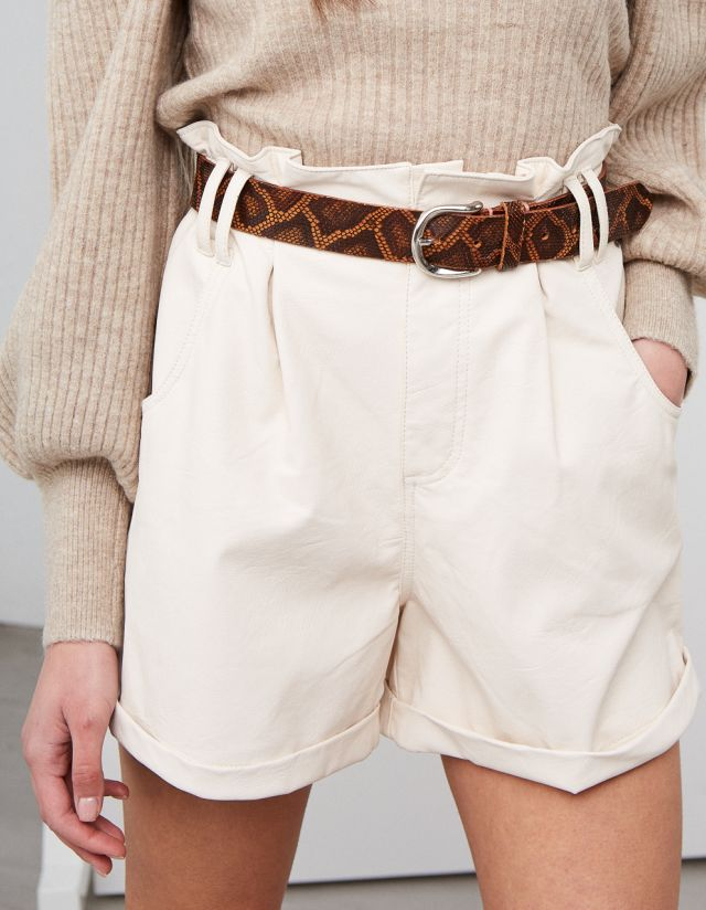 LEATHER SNAKE PRINT BELT