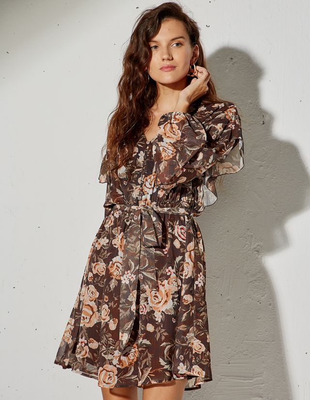 FLORAL PRINT DRESS WITH BUTTONS