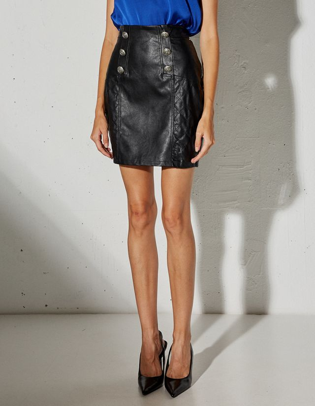 QUILTED STICTH SKIRT WITH LEATHER EFFECT