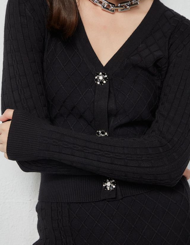 CARDIGAN WITH BEJEWELLED BUTTONS