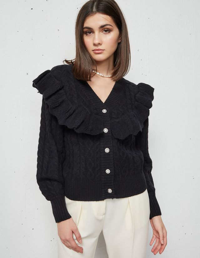 KNIT CARDIGAN WITH RUFFLES