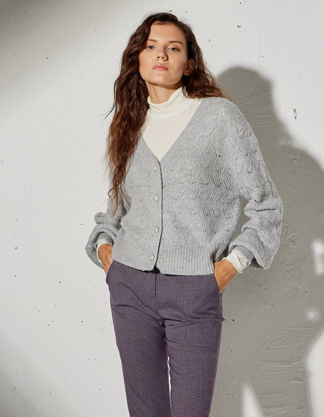 CARDIGAN WITH BEJEWELED BUTTONS