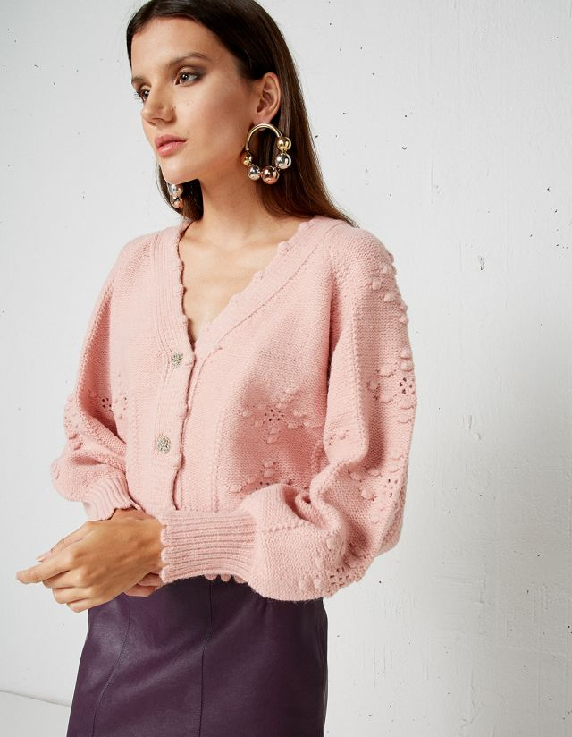 KNIT CARDIGAN WITH BEJEWELED BUTTONS