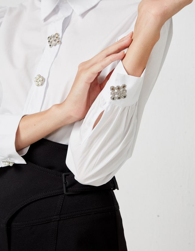 COTTON SHIRT WITH JEWELLERY