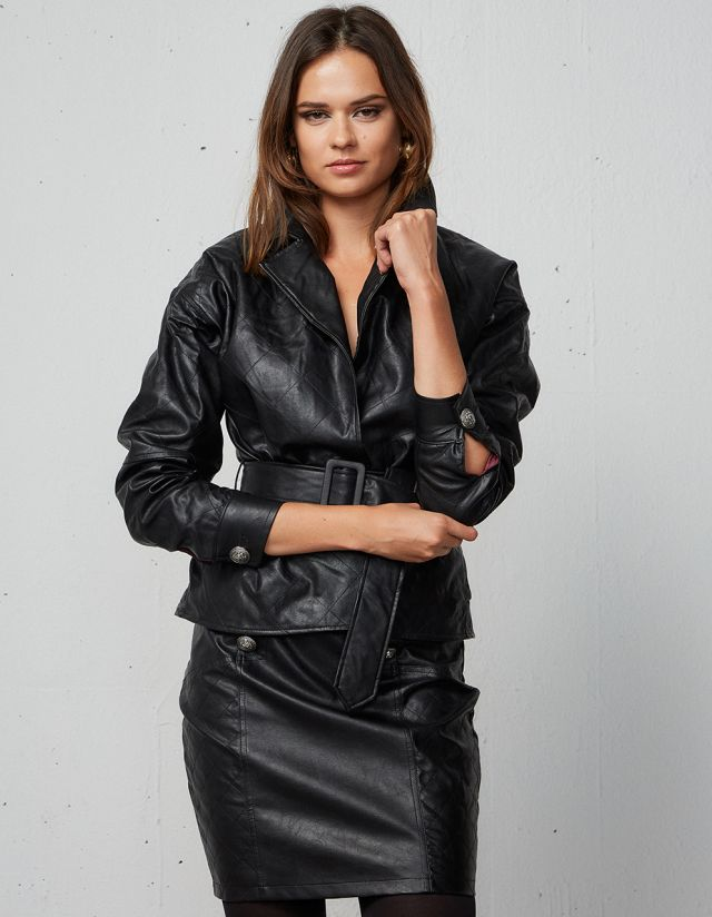 LEATHER LOOK QUILTED JACKET