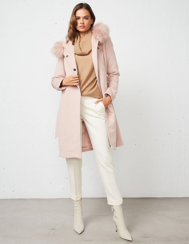 COAT WITH FAUX FUR ON THE HOOD