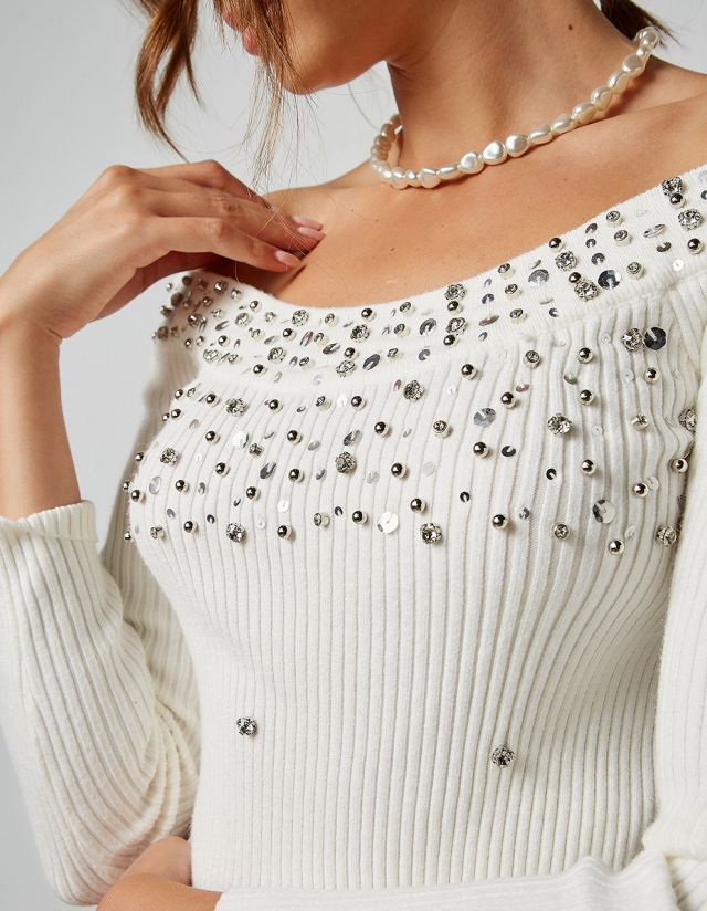 OFF SHOULDER BLOUSE WITH RHINESTONES