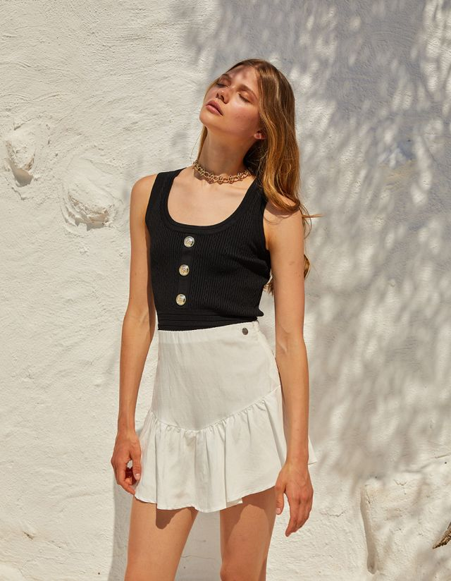 KNIT CROP TOP WITH BUTTONS