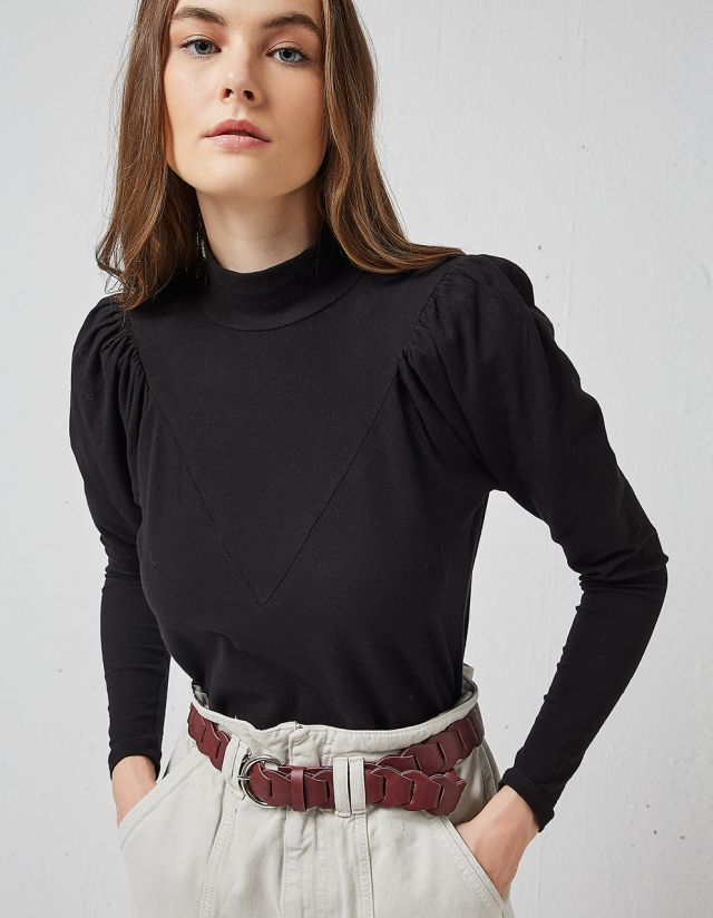 TURTLENECK BLOUSE WITH PADS