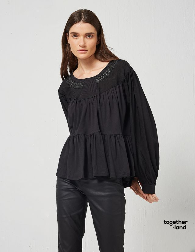 BLOUSE WITH LEATHER LOOK EMBROIDERY - TOGETHERLAND-
