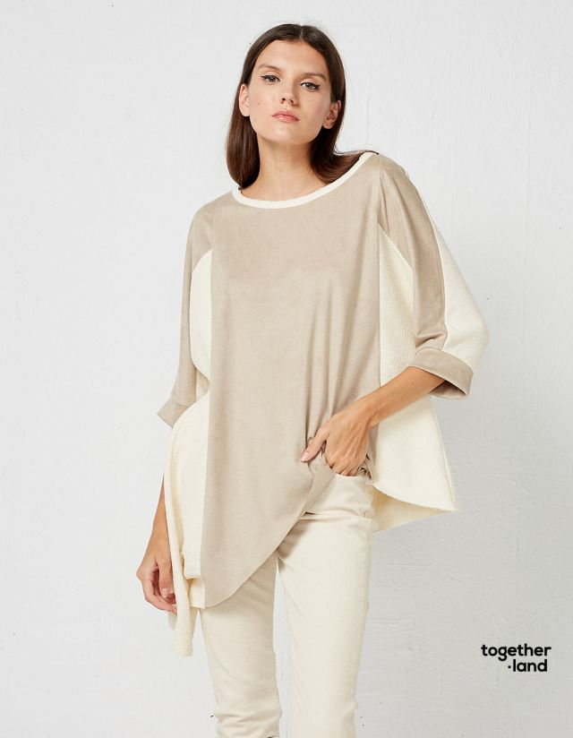 ASYMMETRIC BLOUSE IN FABRIC COMBINATION - TOGETHERLAND