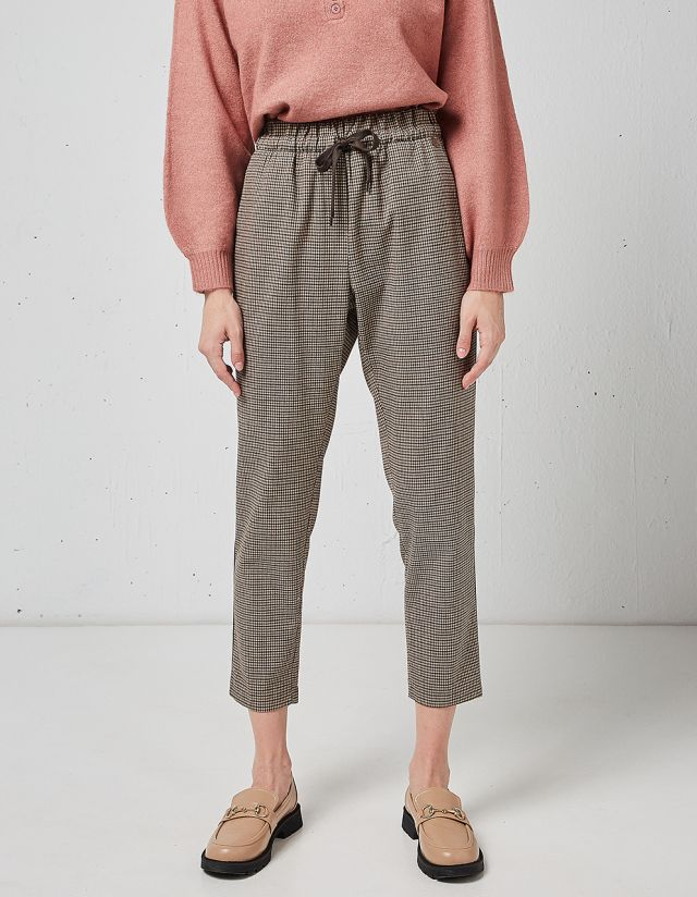 CHECKED TROUSERS WITH DRAWSTRING