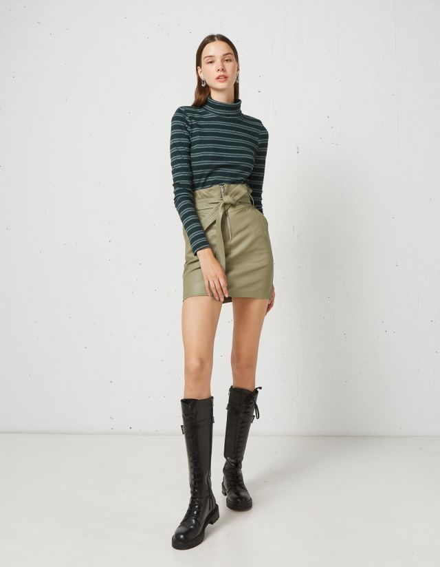 LEATHER LOOK PAPERBAG SKIRT