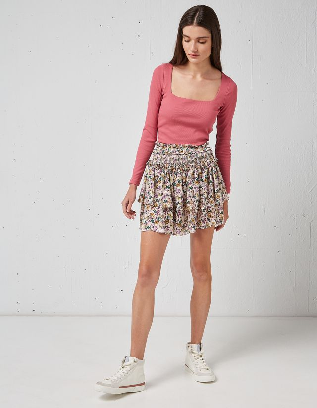 FLORAL MINI SKIRT WITH RUFFLES