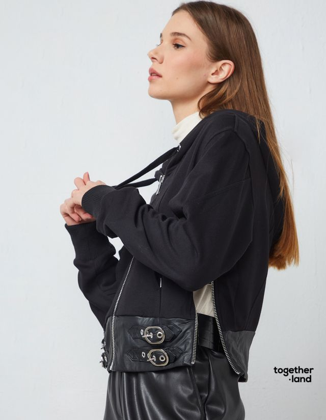 CARDIGAN WITH LEATHER LOOK DETAIL - TOGETHERLAND