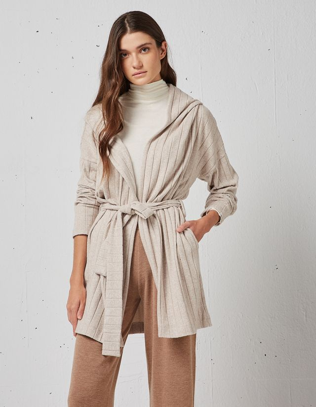HOODED CARDIGAN WITH BELT
