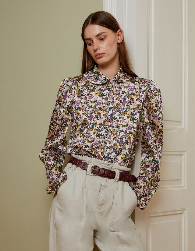 SATIN TOUCH FLORAL SHIRT