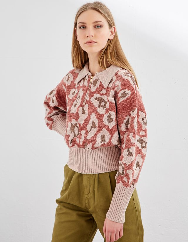 CHENILLE TOP WITH ZIPPER