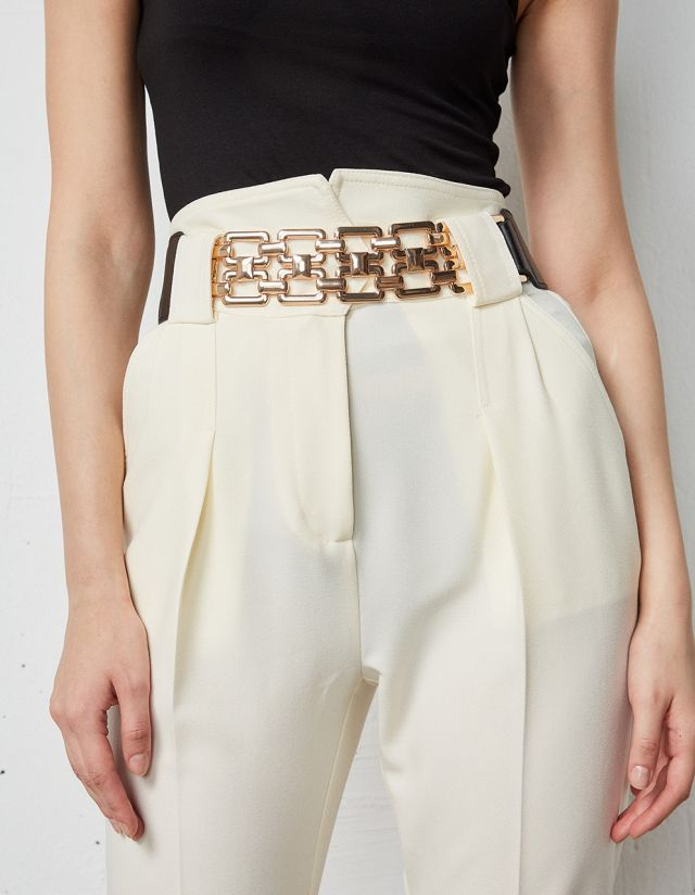 ELASTICATED BELT WITH WOVEN PATTERN