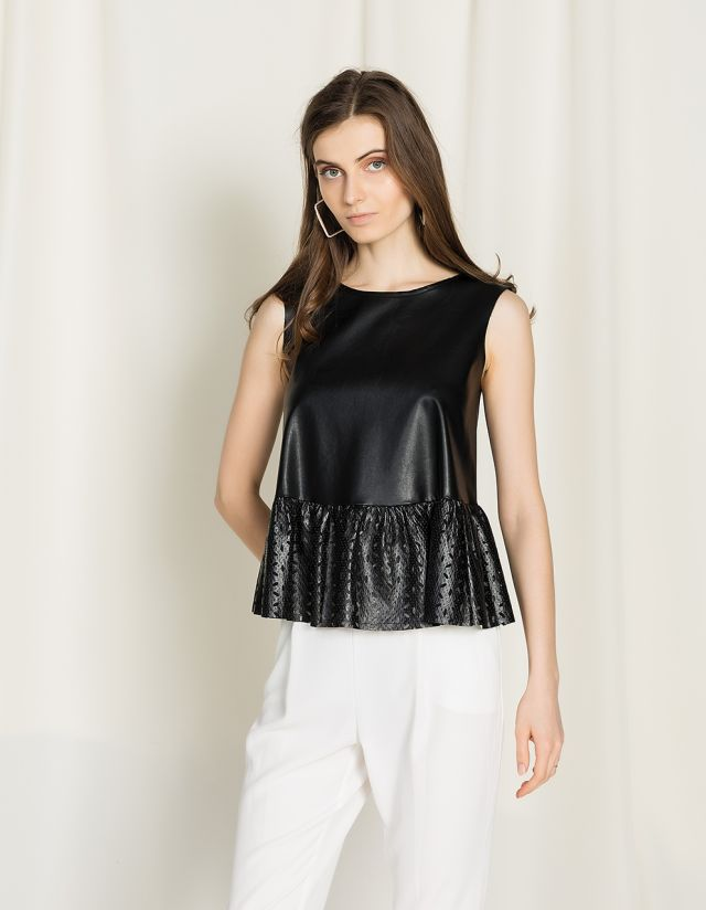 LEATHER EFFECT BLOUSE WITH RUFFLES