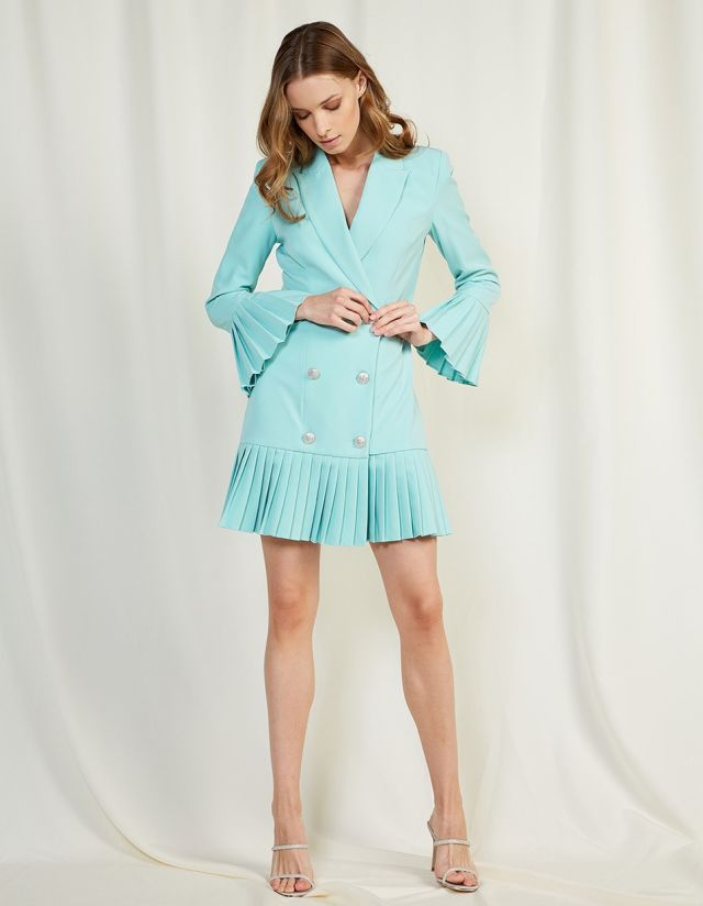 PLEATED BLAZER DRESS
