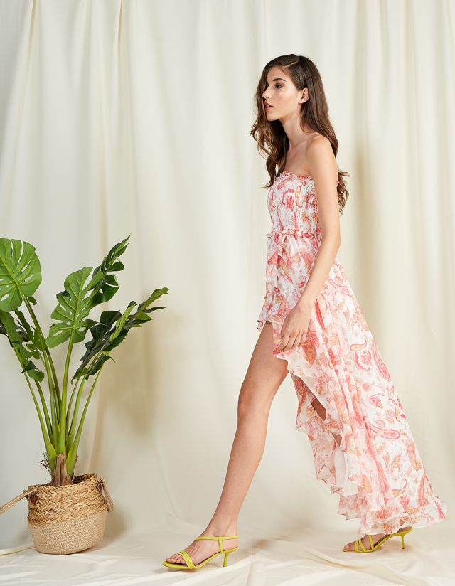 STRAPLESS FLORAL ASYMMETRIC DRESS