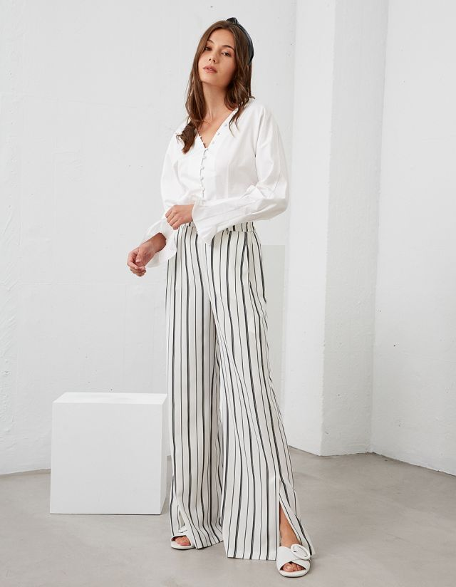 HIGH WAISTED TROUSERS WITH STRIPES