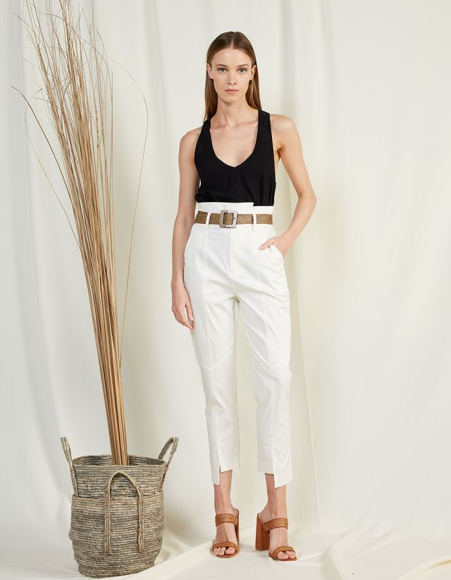 PAPER BAG POPLIN TROUSERS