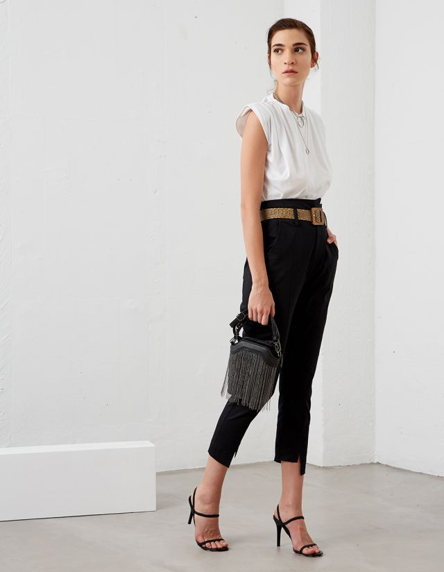 PAPERBAG POPLIN TROUSERS