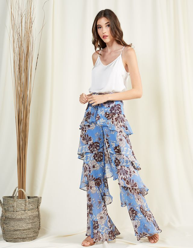 PRINTED MULTIPLE RUFFLED TROUSERS