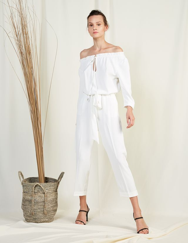 OFF SHOULDER JUMPSUIT WITH SELF-TIE BELT