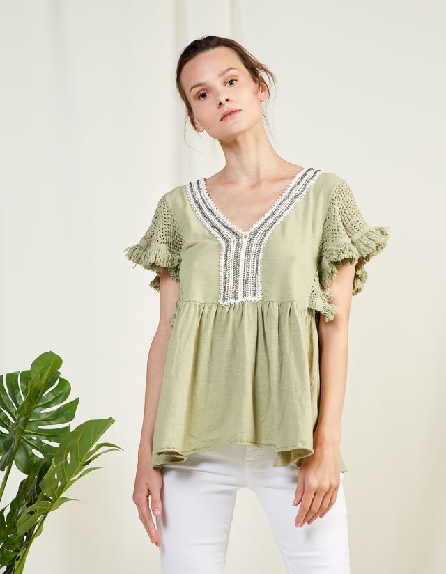 BEADED NECKLINE TOP WITH SLEEVE DETAILS