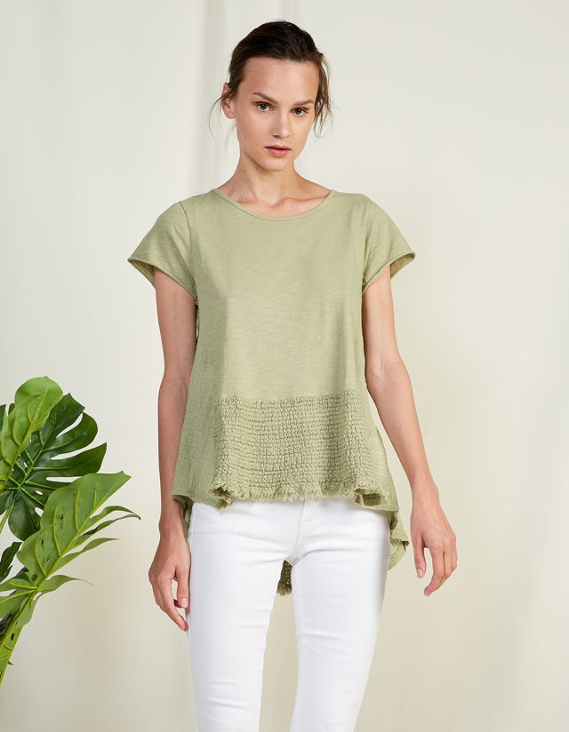 COTTON BLOUSE WITH RAW HEM