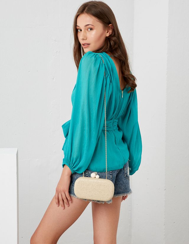 BLOUSE WITH SELF-TIE BELT